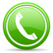 Phone green glossy icon on white background — Stock Photo