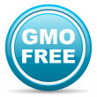 Gmo free blue glossy icon on white background — Stock Photo