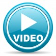 Video blue glossy icon on white background — Stock Photo