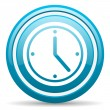 Photo: Clock blue glossy icon on white background