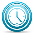 Clock blue glossy icon on white background — Foto de stock #18324959