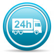 Delivery 24h blue glossy icon on white background — Stock Photo