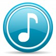 Music blue glossy icon on white background — Stock Photo #18325021