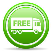 Free delivery green glossy icon on white background — Stock Photo