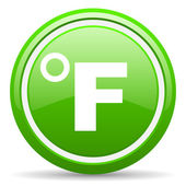 Fahrenheit green glossy icon on white background — Stock Photo