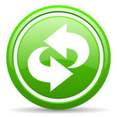 Rotate green glossy icon on white background — Stock Photo