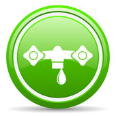 Water green glossy icon on white background — Stock Photo