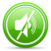 Mute green glossy icon on white background — Stock Photo