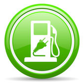Fuel green glossy icon on white background — Stock Photo