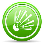 Bomb green glossy icon on white background — Stock Photo