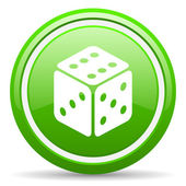 Dice green glossy icon on white background — Stock fotografie