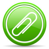 Paper clip green glossy icon on white background — Stock Photo