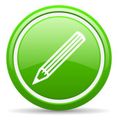 Pencil green glossy icon on white background — Stock Photo