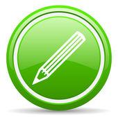 Grün glänzend bleistiftsymbol auf weißem hintergrund — Stockfoto