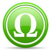 Omega green glossy icon on white background — Стоковое фото