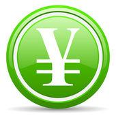 Yen green glossy icon on white background — Stock Photo