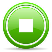 Stop green glossy icon on white background — Стоковое фото