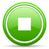Grünes glänzendes symbol auf weißem hintergrund zu stoppen — Stockfoto