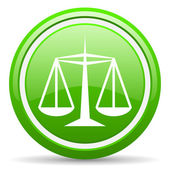 Justice green glossy icon on white background — Stock Photo
