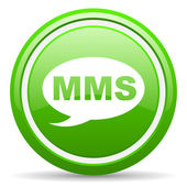 Mms green glossy icon on white background — 图库照片