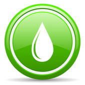 Water drop green glossy icon on white background — Stock Photo