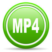 Mp4 green glossy icon on white background — Stock Photo