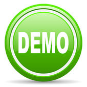 Demo green glossy icon on white background — Stock Photo