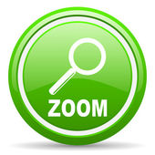 Zoom green glossy icon on white background — Stock Photo