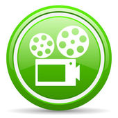 Cinema green glossy icon on white background — Stock Photo