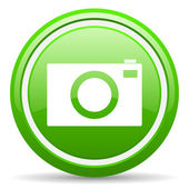 Camera green glossy icon on white background — Stock Photo