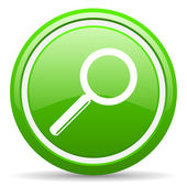 Search green glossy icon on white background — Stock Photo