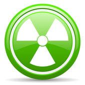 Radiation green glossy icon on white background — Stock Photo