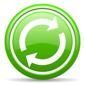 Reload green glossy icon on white background — Стоковое фото