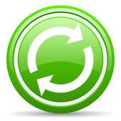 Reload grünes glänzendes symbol auf weißem hintergrund — Stockfoto