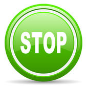Stop green glossy icon on white background — Stock Photo