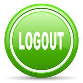 Logout green glossy icon on white background — Stock Photo