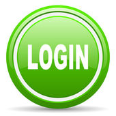 Login green glossy icon on white background — Stock Photo