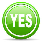 Yes green glossy icon on white background — Stock Photo