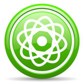 Atom green glossy icon on white background — Stock Photo