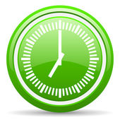 Clock green glossy icon on white background — Stock Photo