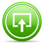 Geben sie grünes glänzendes symbol auf weißem hintergrund — Stockfoto