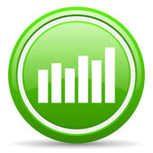 Bar graph green glossy icon on white background — Photo