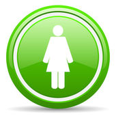 Woman green glossy icon on white background — Stock Photo