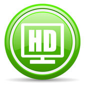 Hd display green glossy icon on white background — Стоковое фото