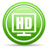 Hd display grünes glänzendes symbol auf weißem hintergrund — Stockfoto