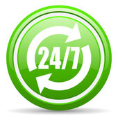 24 7 service green glossy icon on white background — Stock Photo