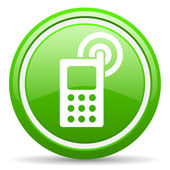 Cellphone green glossy icon on white background — Stock Photo