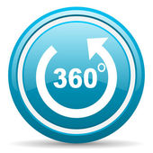 360 degrees panorama blue glossy icon on white background — Stock Photo