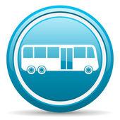 Bus blue glossy icon on white background — Stock Photo