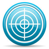 Target blue glossy icon on white background — Stock Photo